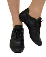 Джазовки-кроссовки низкие (кожа, черный)